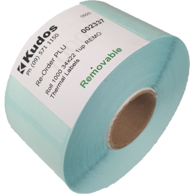 Thermal Direct Label  1 Across Removable  34 x 22  Roll of 1,000